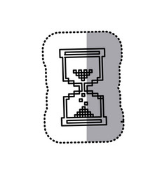 monochrome contour sticker with hourglass vector image vector image