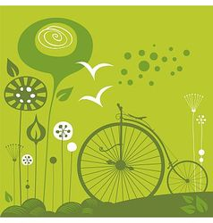 Penny farthing background vector