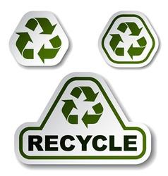 Recycle green arrow stickers vector