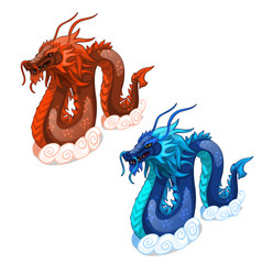 Red and blue serpent dragons isolated vector