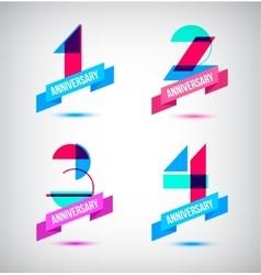 Set of anniversary retro numbers design n vector