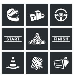 Set of Karting Icons Helmet Pedestal vector image
