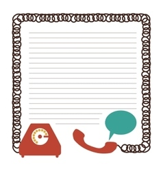 Sheet with draw of phone and cord vector