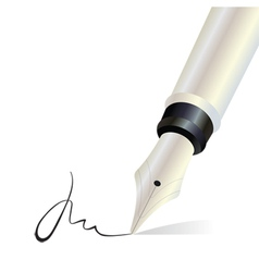 Signing with a fountain pen isolated object vector image
