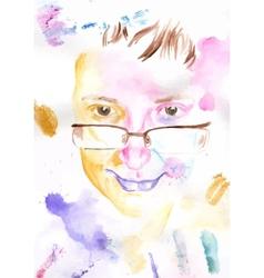 Watercolor portrait vector