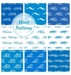 Ocean waves seamless pattern backgrounds vector
