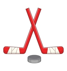 Sticks and puck icon cartoon style vector