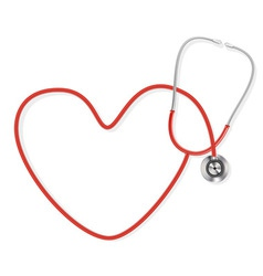 Stethoscope making a heart shape vector