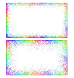 Business card border templates in rainbow colors vector image