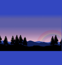 spruce on the hill with rainbow landscape vector image