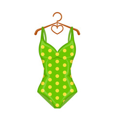 bright green swimsuit with yellow flowers clothes vector image