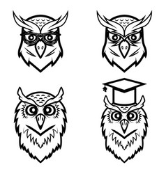 Set of the owl heads isolated on white background vector