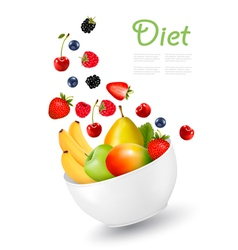 Bowl of healthy fruit concept of diet vector