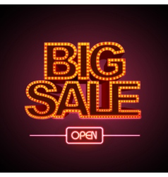 Neon sign big sale open vector