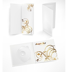 Pamphlet and CD Set in Floral Design vector image