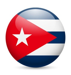 Round glossy icon of cuba vector