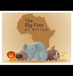 Wild African animal background Big five 1 vector image