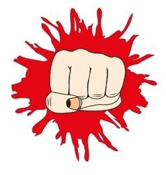 Fist in break wall vector