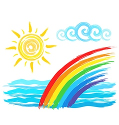 Rainbow and sun artistic brush drawing vector