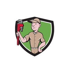 Handyman monkey wrench crest cartoon vector