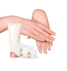 Beautiful young female hands with a cream and vector image vector image