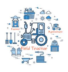 blue round field tractor concept vector image