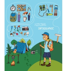 Cartoon hiker with hiking infographic elements vector image vector image
