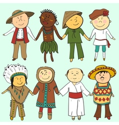 Cartoon kids in different traditional costumes vector
