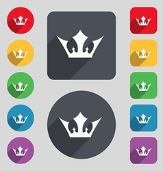 Crown icon sign A set of 12 colored buttons and a vector image