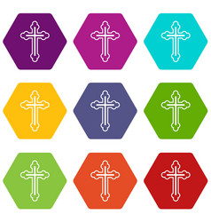 Crucifix icon set color hexahedron vector
