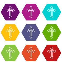 crucifix icon set color hexahedron vector image