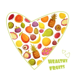 Fruits heart shape retro style advertisement vector