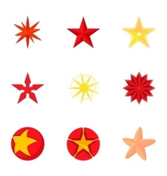 Geometric figure star icons set cartoon style vector