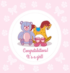Greeting card with girls congrats vector