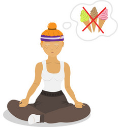 image girl sitting in lotus pose vector image vector image