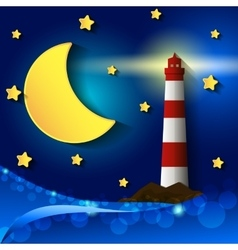 Lighthouse night vector