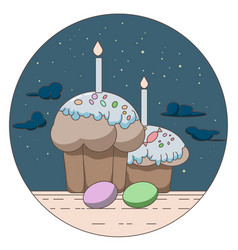 Line style logo with gift and easter eggs vector