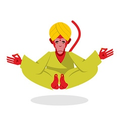Monkey Yoga Monkey yogi meditates Red monkey vector image vector image