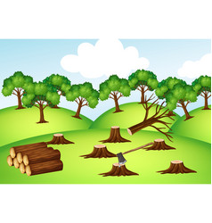 Mountains with chopped trees vector