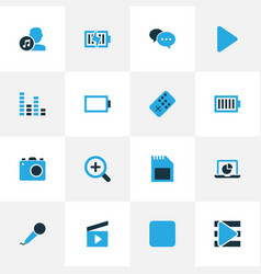 Music colorful icons set collection of controller vector