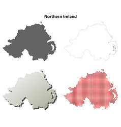 Northern Ireland outline map set vector image
