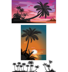 palm trees at sunset vector image vector image