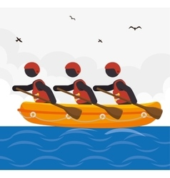 rafting kayaking team design vector image