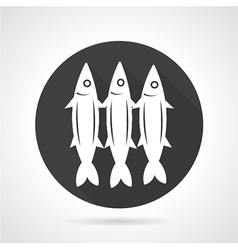 Sardines round black icon vector