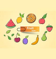 set color fruit icon vector image