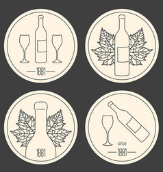 Set of linear logo for wine making shop or winery vector