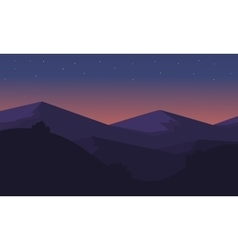 Silhouette of mountain at night vector
