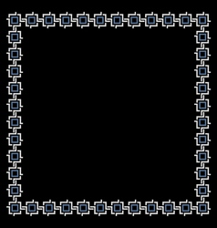 Simple geometric ethnic frame on black vector