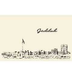 Sketch Jeddah skyline drawn vector image vector image