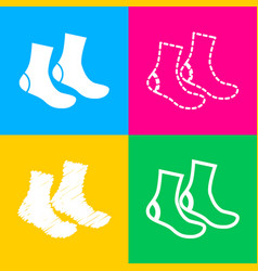 Socks sign four styles of icon on four color vector
